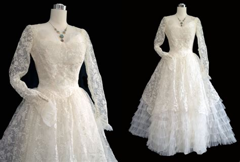 1950s dress 50s lace dress wedding dress alamondine vintage 50s wedding dress 1950s wedding gown lace tulle