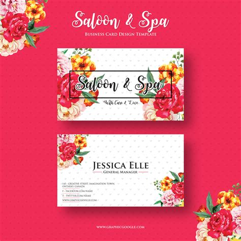 free card design templates free saloon spa business card design template