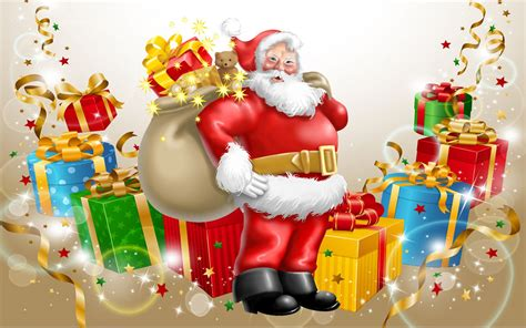 new year gift for child santa claus happy new year and merry gifts for