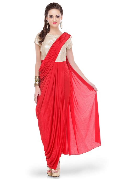 draping a dress sequins embroidered lycra draping dress in red and golden