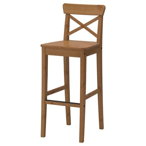 chaise ingolf ingolf bar stool with backrest antique stain 74 cm ikea