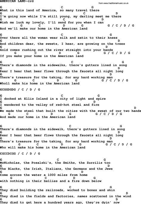 lyrics bruce springsteen bruce springsteen song american land lyrics and chords