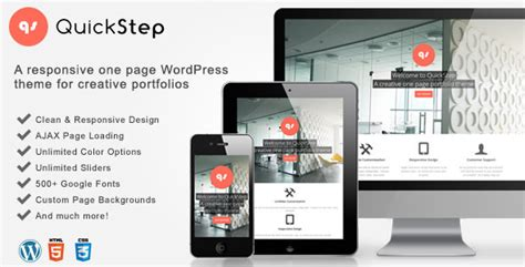theme wordpress blog themeforest quickstep responsive one page portfolio theme by