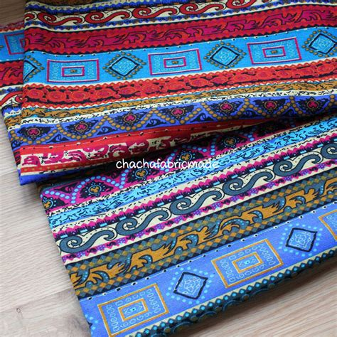 Bohemian Upholstery Fabric by Cotton Linen Fabric Boho Bohemian Style Fabric Upholstery
