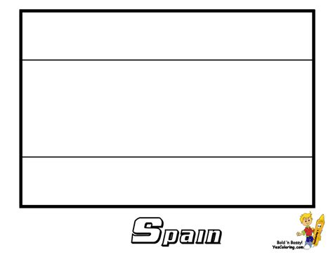 colouringpage printable of spain flag