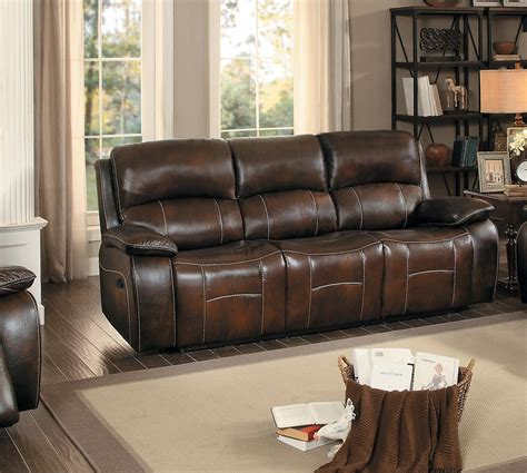homelegance reclining sofa homelegance mahala reclining sofa brown top grain