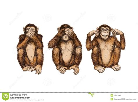 three wise monkeys see hear speak no evil stock
