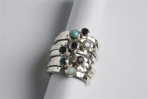 Handmade Silver Jewellery Cornwall - silver stacking ring with gemstone starboard jewellery