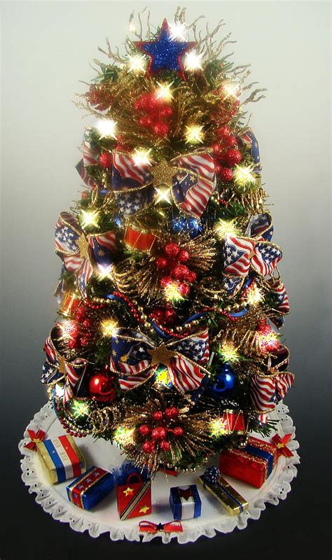 decorated patriotic tabletop mini christmas tree red