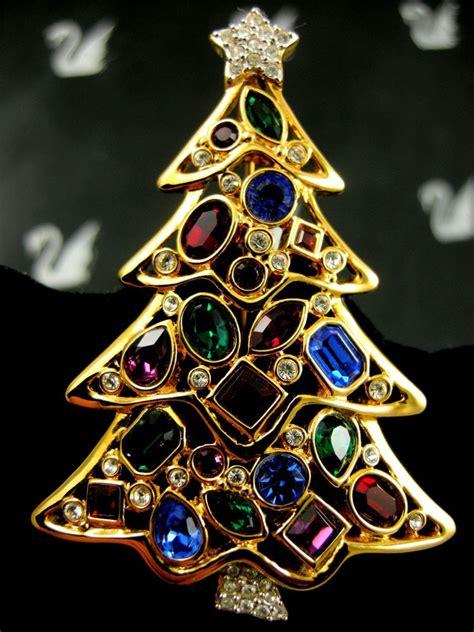 signed swarovski pave crystal christmas tree pin pin