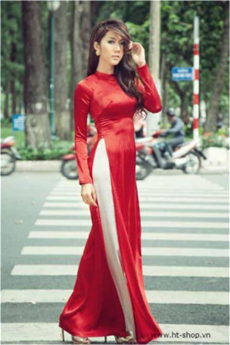 ao dai dâm ao dai vietnam custom made silk satin red white