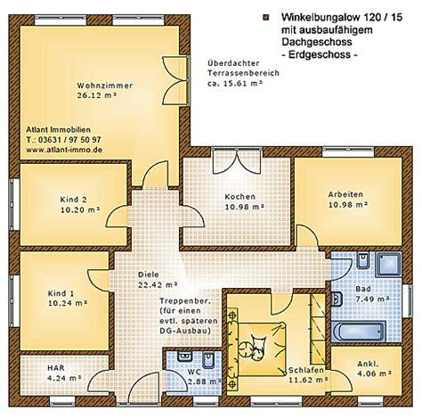 Winkelbungalow Grundriss 5 Zimmer by Winkelbungalow 120 15 Einfamilienhaus Neubau Massivbau
