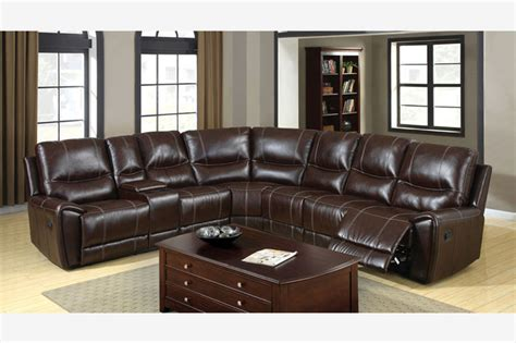 7 Leather Sectional Sofa by Transitional Brown Leather Reclining Sectional Sofa 3