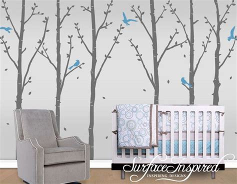 Wall Stickers Birds white winter tree wall decals with flying birds and leaves