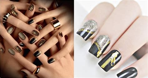 imagenes de uñas negras con dorado impactantes dise 241 os de u 241 as negro con dorado radiantes