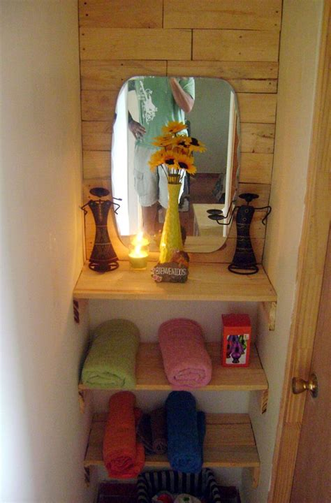 15 diy bathroom shelving ideas that can boost storage bathroom entrance with repurposed pallets pallet