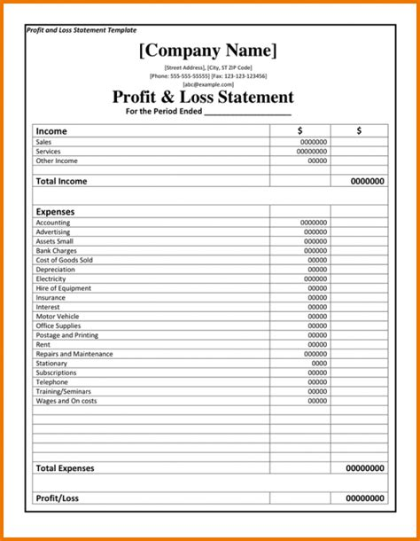 self employed profit and loss statement template doc 12751650 free profit and loss statement form