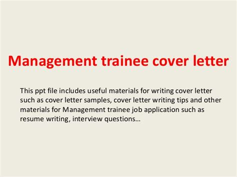 Cover Letter For Trainee Management Trainee Cover Letter