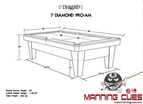 7ft pool table dimensions pro am pool table