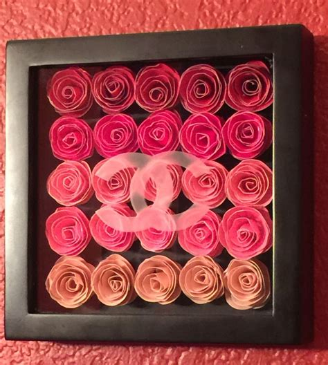 paper flower shadow box tutorial rolled paper flowers in shadow box with chanel etched