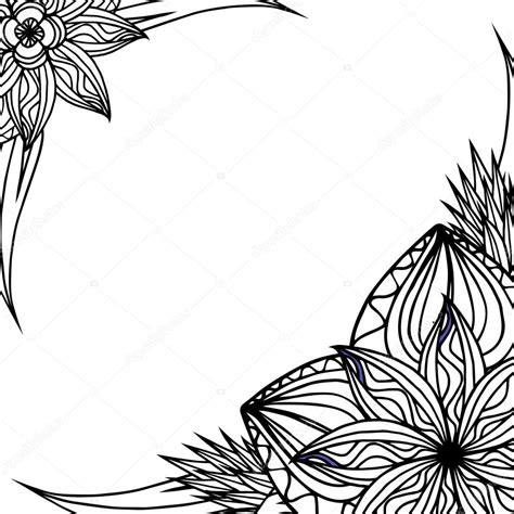 cornice fiori cornice con fiori e foglie di doodle vettoriali stock