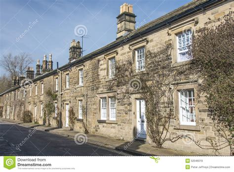 cottages in bakewell row of cottages in bakewell derbyshire stock photo