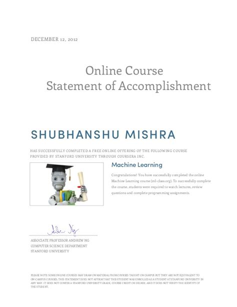 Coursera Courses For Mba by Machine Learning Certificate Coursera