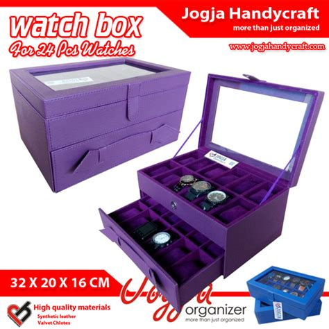 Kotak Jam Tangan Isi 24 Purple Tempat Jam Box Organizer purple box for 24 watches kotak jam tangan susun isi 24