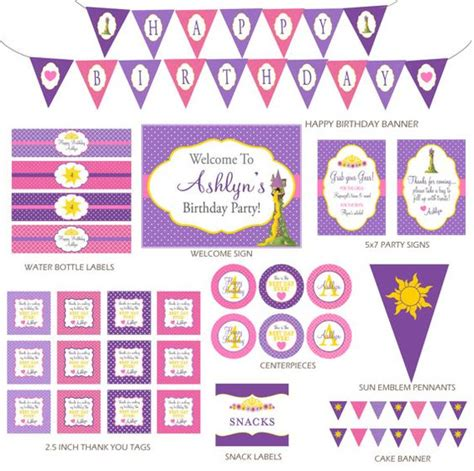 tangled printable party decorations diy printable rapunzel invitation and party decorations