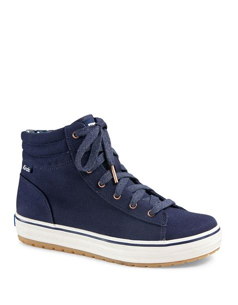 hi top canvas sneakers keds hi rise canvas high top sneakers in blue lyst