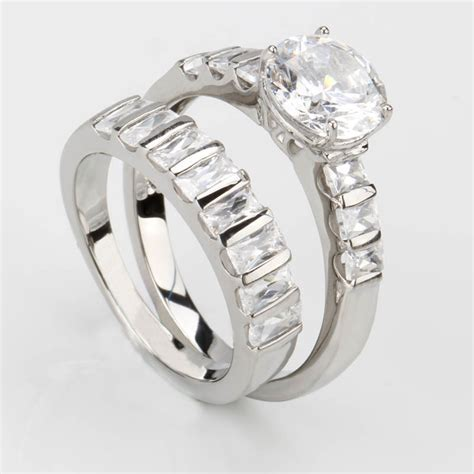 stainless steel cubic zirconia wedding ring sets wedding set ring made of stainless steel and cubic