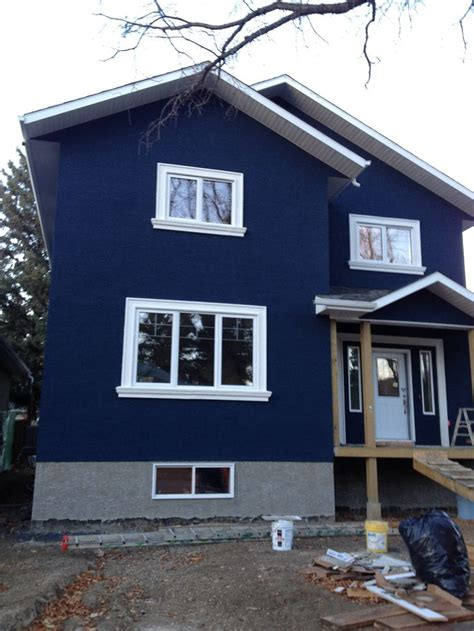 white themes house house dark blue stucco exterior white trim google search