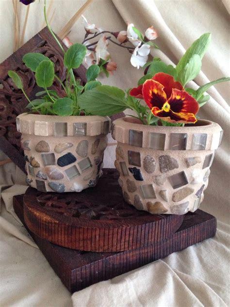 Mosaic Flower Pots Small Indoor Planter Set Succulent Pot - mosaic succulent pot set flower pots window planter