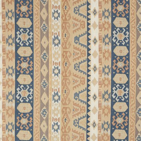 Southern Upholstery by Sand Beige And Coral Blue Vintage Look Aztec Cabin