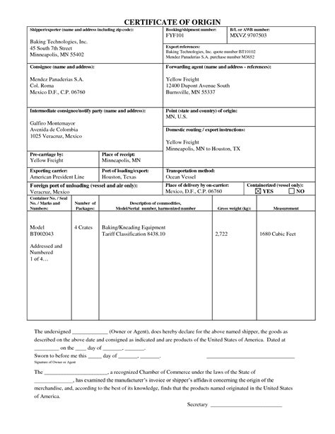 certificate of origin form template pdf certificate of origin template