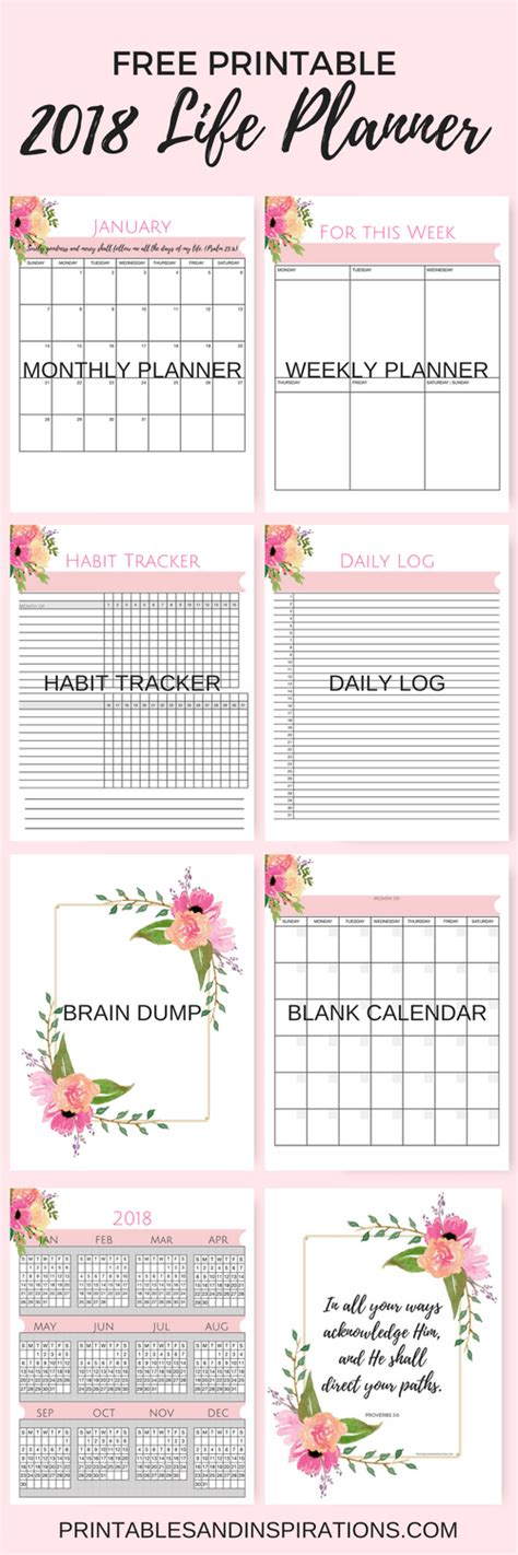 printable life planner 2018 free printable 2018 life planner not just a pink calendar