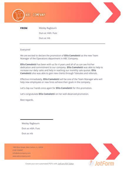 promotion announcement letter templates jotform