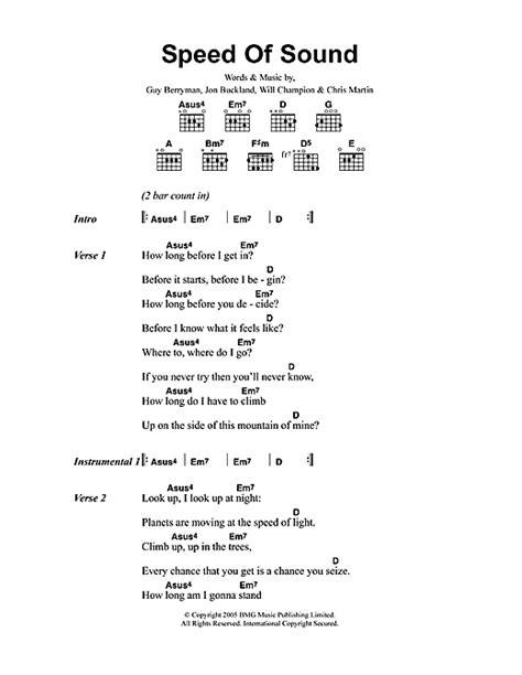 printable lyrics sound of music speed of sound sheet music by coldplay lyrics chords