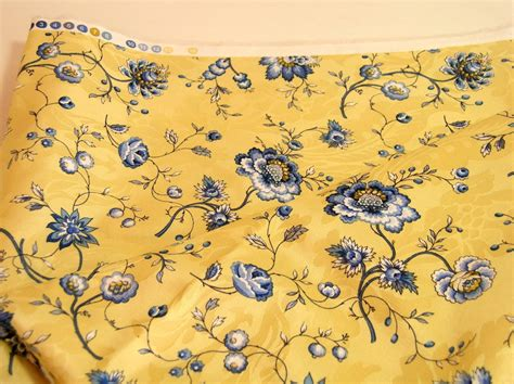 Blue And Yellow Upholstery Fabric by Yellow And Blue Floral Fabric 1 1 2 Yards