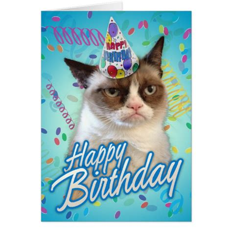 card grumpy cat happy birthday grumpy cat card zazzle