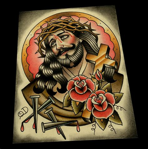 tattoo flash of jesus classic jesus color tattoo flash