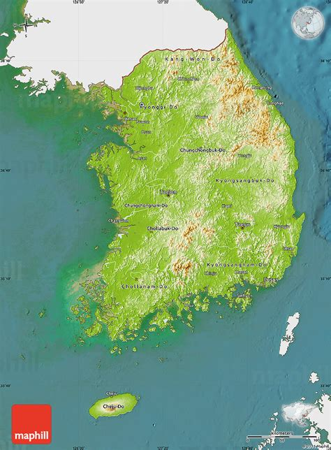 korea physical map physical map of south korea single color outside