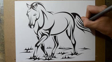 how to draw a horse tribal tattoo design style youtube