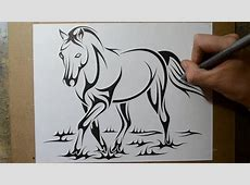 How to Draw a Horse - Tribal Tattoo Design Style - YouTube Easy Tribal Animal Drawings