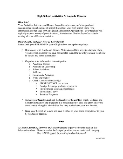 sle high school resume college application high school resumes for college applications resume