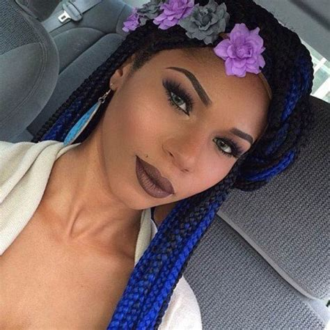 blue black box braids half shaven head 50 trendy box braids hairstyles herinterest com