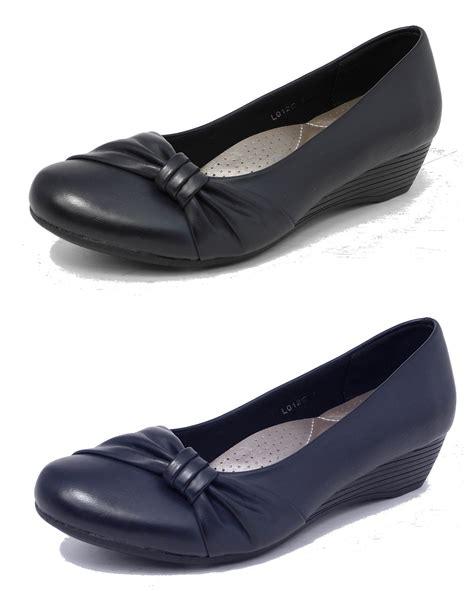 womens comfortable heels womens ladies leather lined comfortable low wedge heel