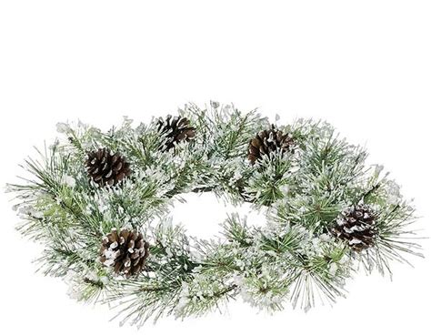 winter candle rings snow pine winter candle ring frosted pine cones 6 inch