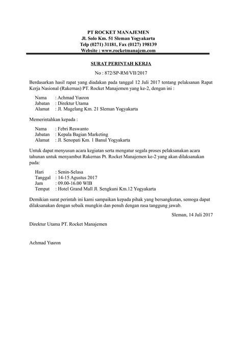 Contoh Spk by Contoh Surat Perintah Kerja Yang Baik