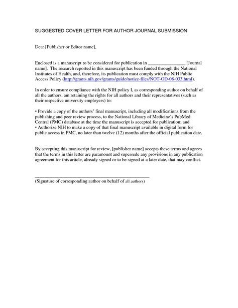 cover letter for manuscript submission the letter sle